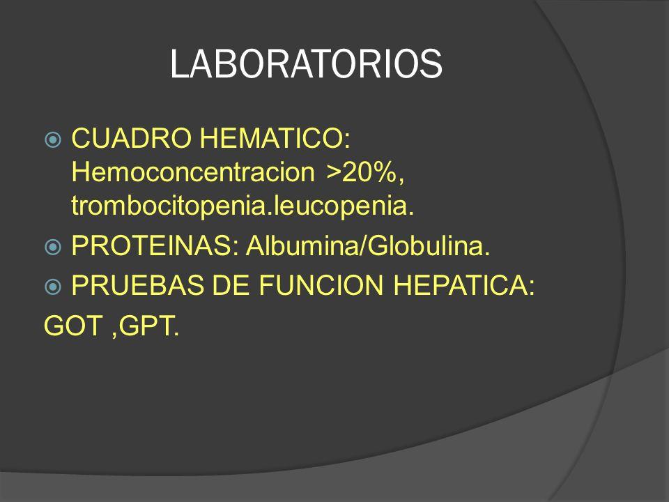 LABORATORIOS CUADRO HEMATICO: Hemoconcentracion >20%, trombocitopenia.leucopenia. PROTEINAS: Albumina/Globulina. PRUEBAS DE FUNCION HEPATICA: GOT,GPT.