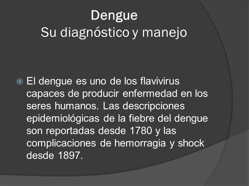 Dengue Su diagnóstico y manejo El dengue es uno de los flavivirus capaces de producir enfermedad en los seres humanos. Las descripciones epidemiológic