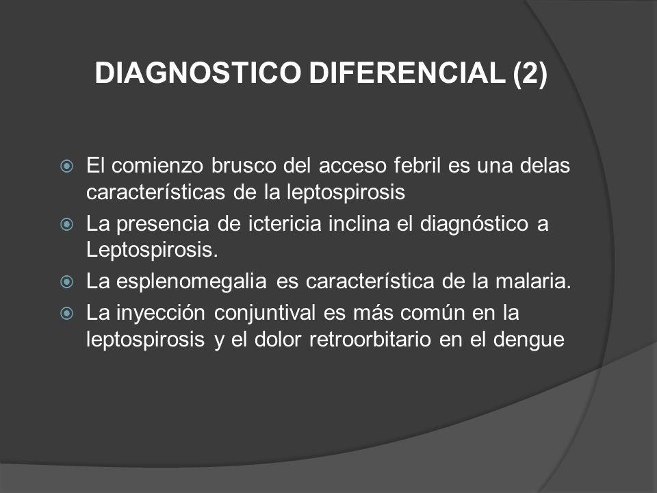 El comienzo brusco del acceso febril es una delas características de la leptospirosis La presencia de ictericia inclina el diagnóstico a Leptospirosis