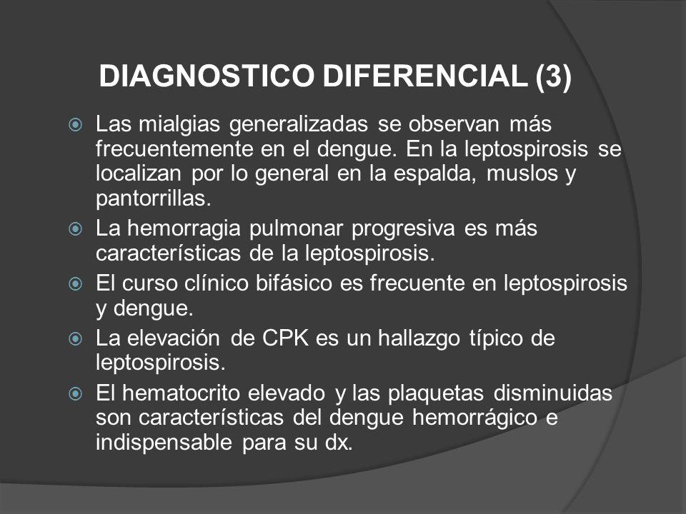 Las mialgias generalizadas se observan más frecuentemente en el dengue. En la leptospirosis se localizan por lo general en la espalda, muslos y pantor