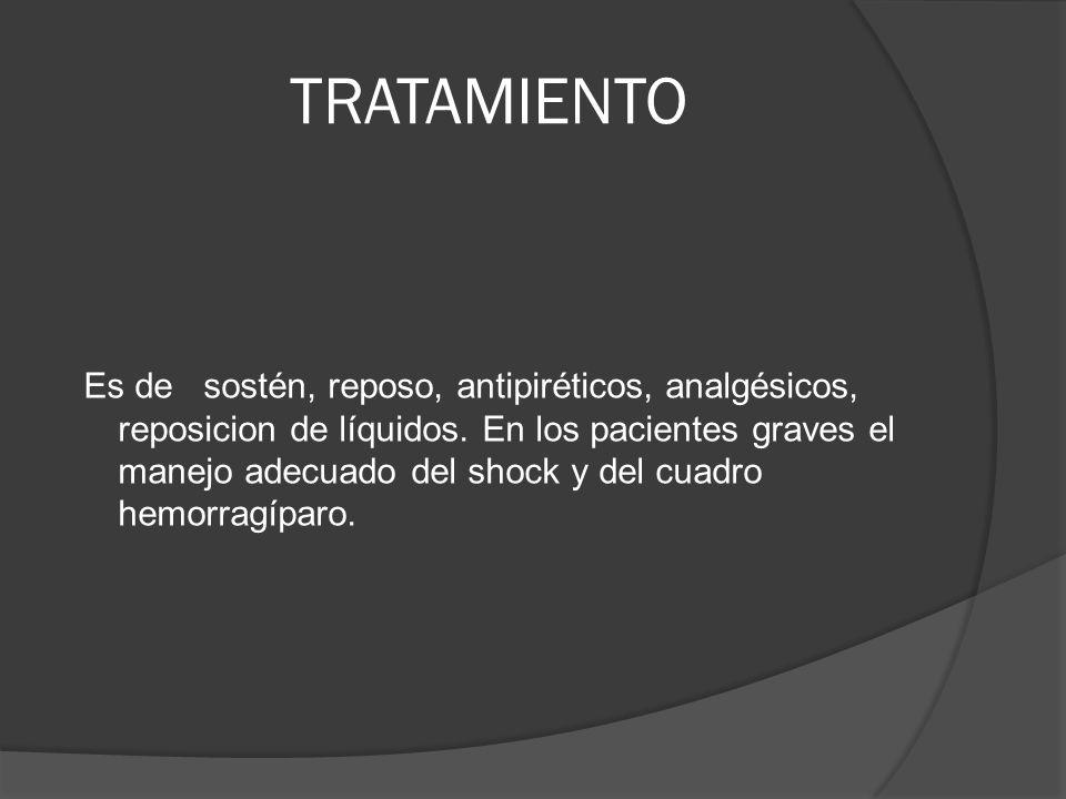 TRATAMIENTO Es de sostén, reposo, antipiréticos, analgésicos, reposicion de líquidos. En los pacientes graves el manejo adecuado del shock y del cuadr