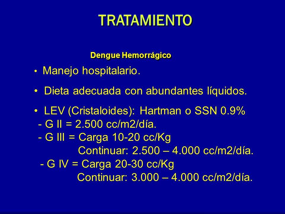 Dengue Hemorrágico Manejo hospitalario. Dieta adecuada con abundantes líquidos. LEV (Cristaloides): Hartman o SSN 0.9% - G II = 2.500 cc/m2/día. - G I