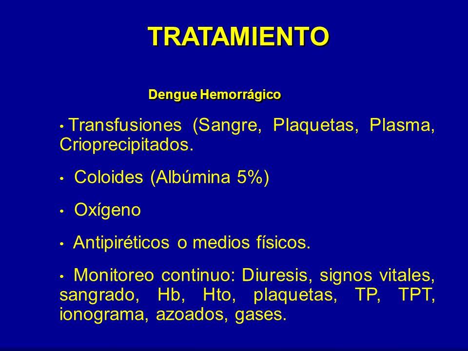 Transfusiones (Sangre, Plaquetas, Plasma, Crioprecipitados. Coloides (Albúmina 5%) Oxígeno Antipiréticos o medios físicos. Monitoreo continuo: Diuresi