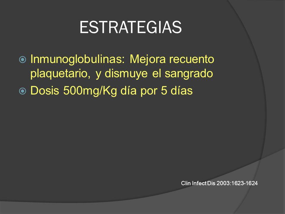 ESTRATEGIAS Inmunoglobulinas: Mejora recuento plaquetario, y dismuye el sangrado Dosis 500mg/Kg día por 5 días Clin Infect Dis 2003:1623-1624