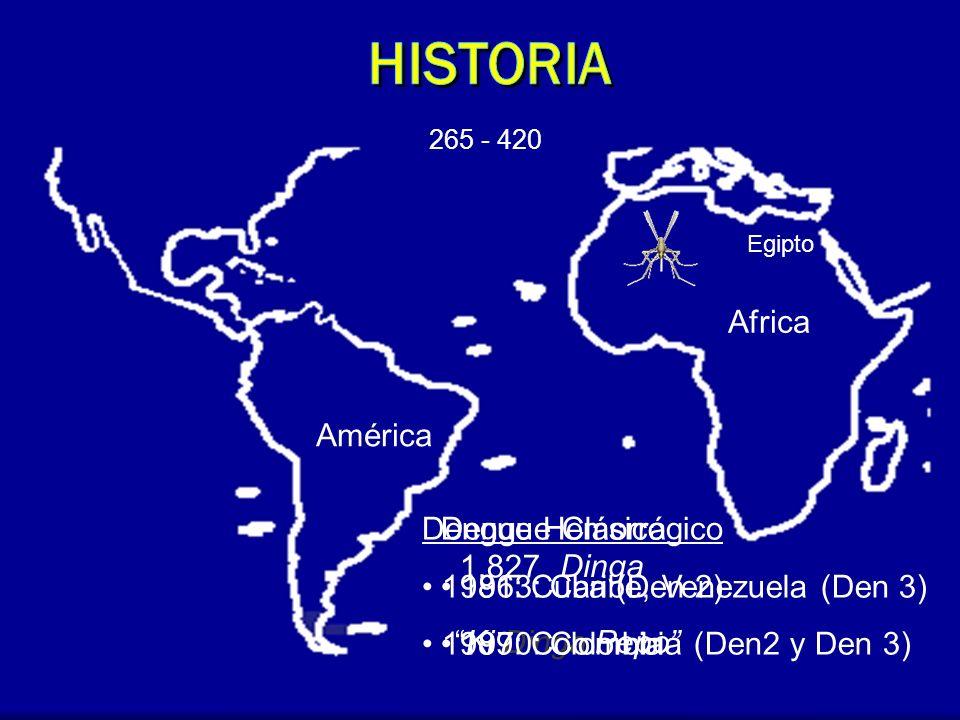 Africa América 1.827 Ki Dinga Pepo Dengue Clásico 1963: Caribe, Venezuela (Den 3) 1970: Colombia (Den2 y Den 3) Dengue Hemorrágico 1981: Cuba (Den 2)