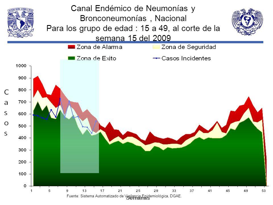 Canal Endémico de Neumonías y Bronconeumonías, Nacional Para los grupo de edad : 15 a 49, al corte de la semana 15 del 2009 Fuente: Sistema Automatiza