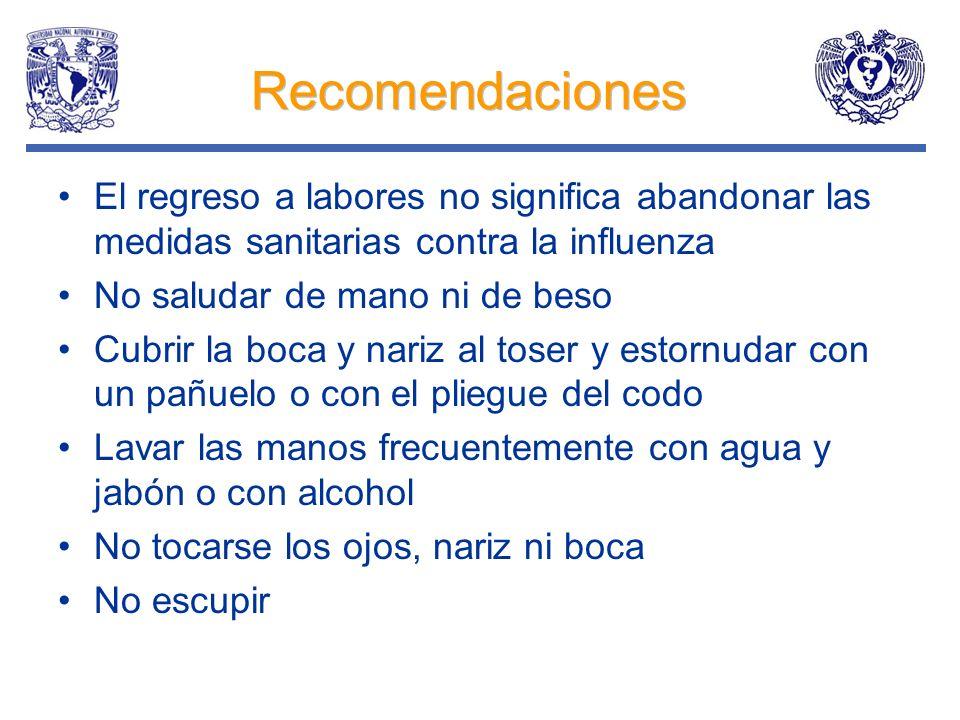 Recomendaciones El regreso a labores no significa abandonar las medidas sanitarias contra la influenza No saludar de mano ni de beso Cubrir la boca y