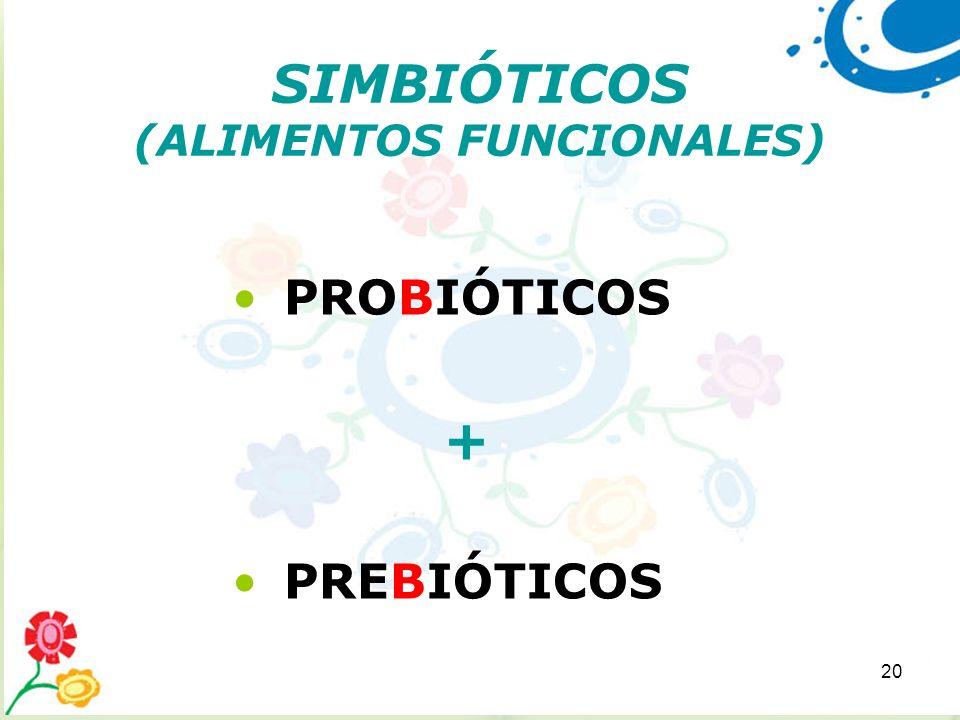 20 SIMBIÓTICOS (ALIMENTOS FUNCIONALES) PROBIÓTICOS + PREBIÓTICOS