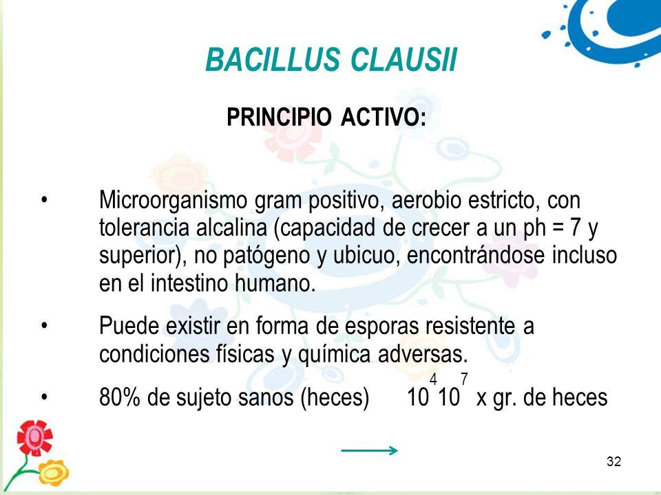32 BACILLUS CLAUSII PRINCIPIO ACTIVO: Microorganismo gram positivo, aerobio estricto, con tolerancia alcalina (capacidad de crecer a un ph = 7 y super