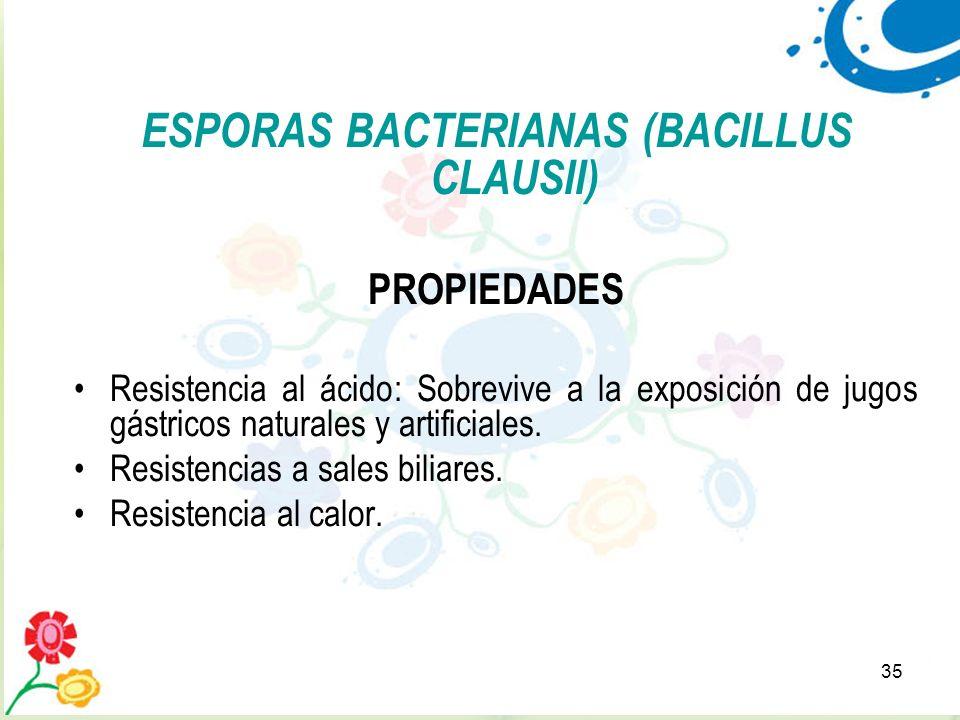 35 ESPORAS BACTERIANAS (BACILLUS CLAUSII) PROPIEDADES Resistencia al ácido: Sobrevive a la exposición de jugos gástricos naturales y artificiales. Res