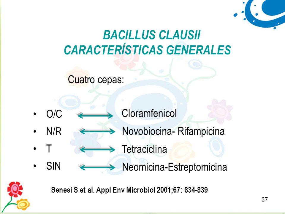37 BACILLUS CLAUSII CARACTERÍSTICAS GENERALES Cuatro cepas: O/C N/R T SIN Cloramfenicol Novobiocina- Rifampicina Tetraciclina Neomicina-Estreptomicina