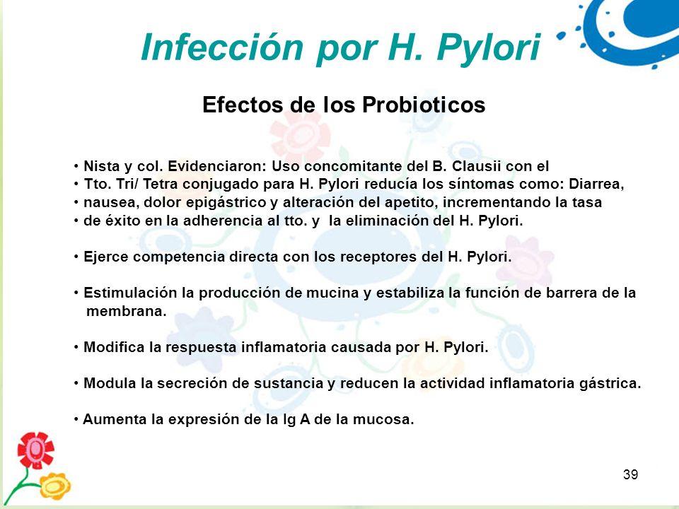 39 Infección por H. Pylori Efectos de los Probioticos Nista y col. Evidenciaron: Uso concomitante del B. Clausii con el Tto. Tri/ Tetra conjugado para