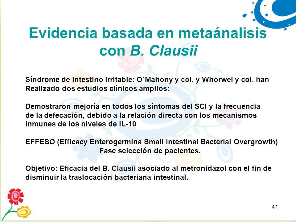 41 Evidencia basada en metaánalisis con B. Clausii Síndrome de intestino irritable: O´Mahony y col. y Whorwel y col. han Realizado dos estudios clínic