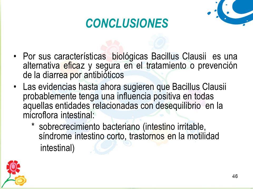 46 CONCLUSIONES Por sus características biológicas Bacillus Clausii es una alternativa eficaz y segura en el tratamiento o prevención de la diarrea po
