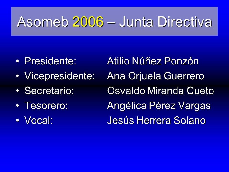 Asomeb 2006 – Junta Directiva Presidente:Atilio Núñez Ponzón Vicepresidente:Ana Orjuela Guerrero Secretario:Osvaldo Miranda Cueto Tesorero:Angélica Pérez Vargas Vocal:Jesús Herrera Solano
