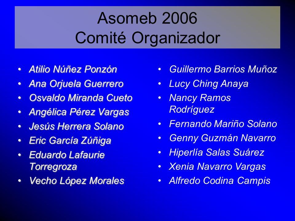 Asomeb 2006 Comité Organizador Atilio Núñez Ponzón Ana Orjuela Guerrero Osvaldo Miranda Cueto Angélica Pérez Vargas Jesús Herrera Solano Eric García Z