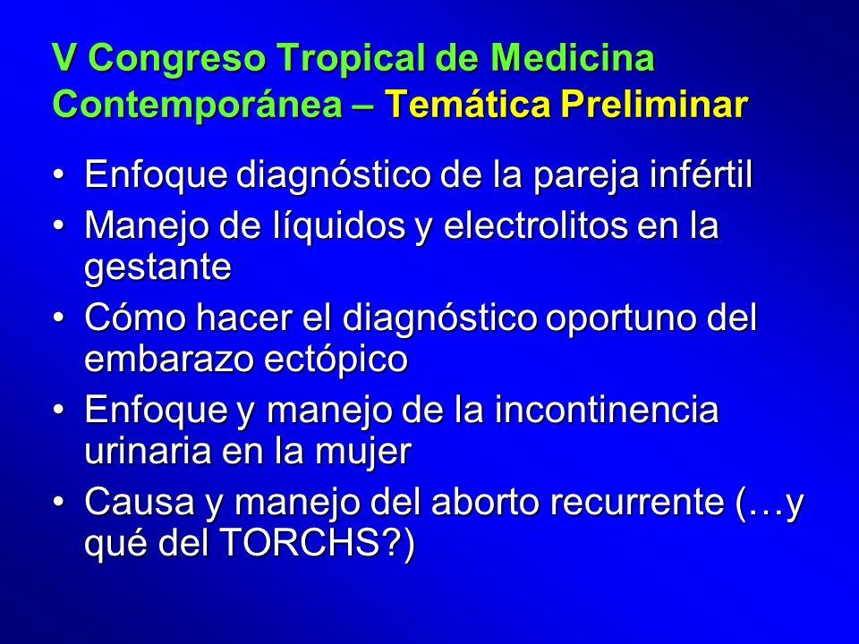 Enfoque diagnóstico de la pareja infértil Manejo de líquidos y electrolitos en la gestante Cómo hacer el diagnóstico oportuno del embarazo ectópico Enfoque y manejo de la incontinencia urinaria en la mujer Causa y manejo del aborto recurrente (…y qué del TORCHS )