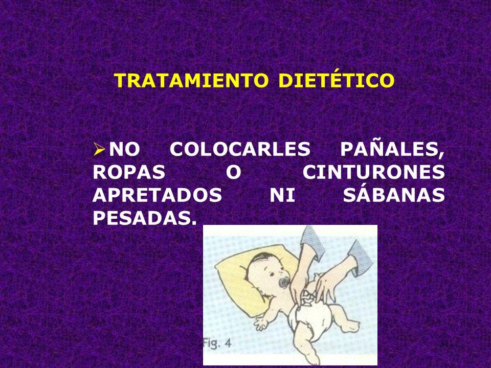 31 TRATAMIENTO DIETÉTICO NO COLOCARLES PAÑALES, ROPAS O CINTURONES APRETADOS NI SÁBANAS PESADAS.