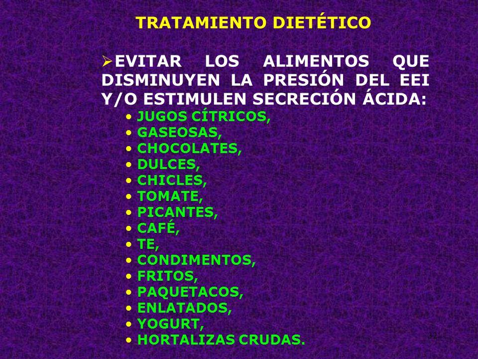 32 TRATAMIENTO DIETÉTICO EVITAR LOS ALIMENTOS QUE DISMINUYEN LA PRESIÓN DEL EEI Y/O ESTIMULEN SECRECIÓN ÁCIDA: JUGOS CÍTRICOS, GASEOSAS, CHOCOLATES, D
