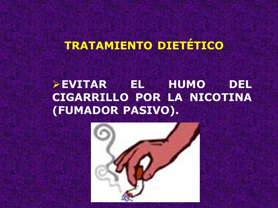 33 TRATAMIENTO DIETÉTICO EVITAR EL HUMO DEL CIGARRILLO POR LA NICOTINA (FUMADOR PASIVO).