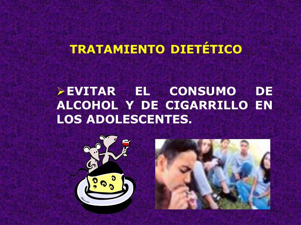 34 TRATAMIENTO DIETÉTICO EVITAR EL CONSUMO DE ALCOHOL Y DE CIGARRILLO EN LOS ADOLESCENTES.