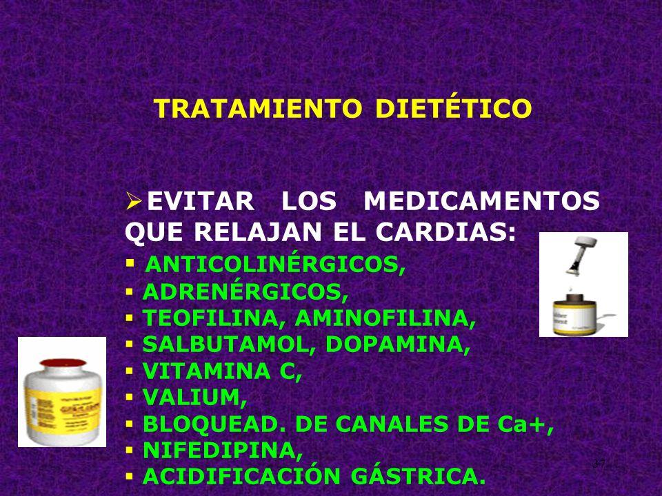 37 TRATAMIENTO DIETÉTICO EVITAR LOS MEDICAMENTOS QUE RELAJAN EL CARDIAS: ANTICOLINÉRGICOS, ADRENÉRGICOS, TEOFILINA, AMINOFILINA, SALBUTAMOL, DOPAMINA,