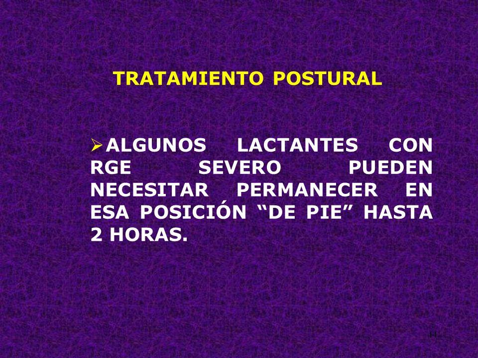44 TRATAMIENTO POSTURAL ALGUNOS LACTANTES CON RGE SEVERO PUEDEN NECESITAR PERMANECER EN ESA POSICIÓN DE PIE HASTA 2 HORAS.