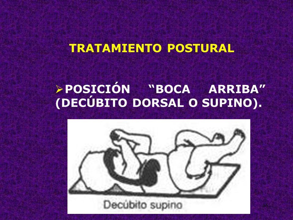 46 TRATAMIENTO POSTURAL POSICIÓN BOCA ARRIBA (DECÚBITO DORSAL O SUPINO).