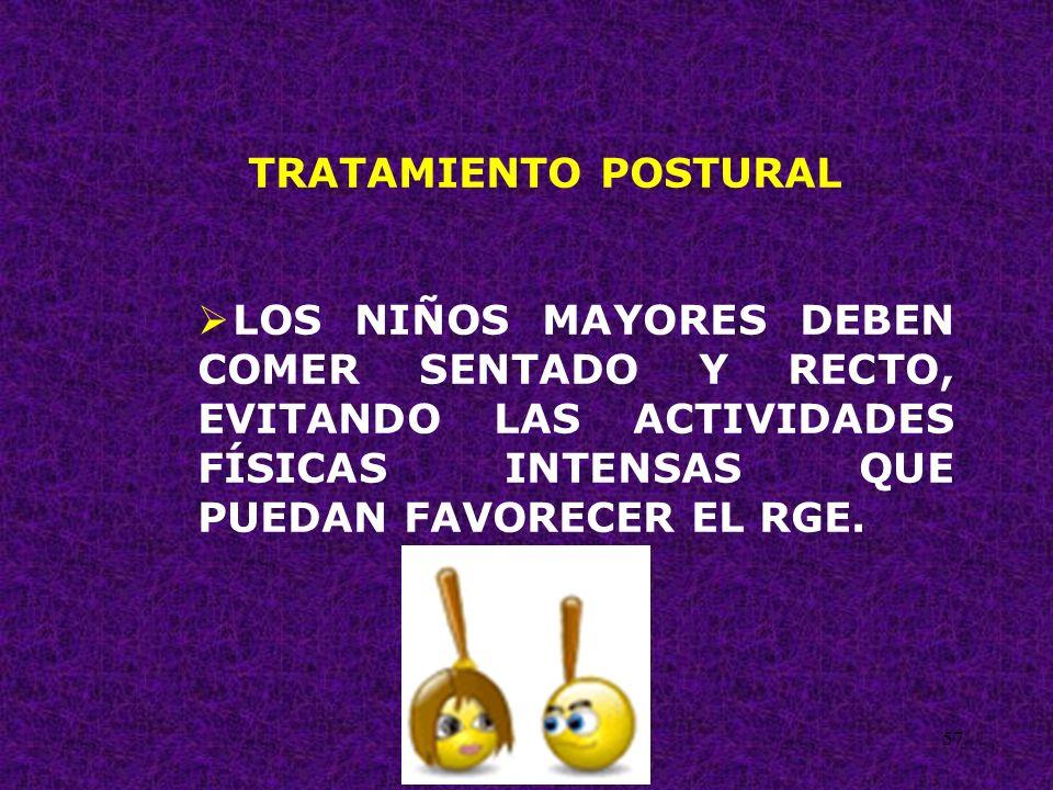 57 TRATAMIENTO POSTURAL LOS NIÑOS MAYORES DEBEN COMER SENTADO Y RECTO, EVITANDO LAS ACTIVIDADES FÍSICAS INTENSAS QUE PUEDAN FAVORECER EL RGE.