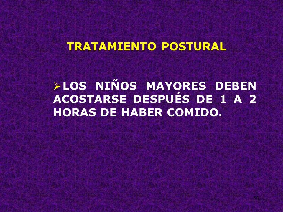 58 TRATAMIENTO POSTURAL LOS NIÑOS MAYORES DEBEN ACOSTARSE DESPUÉS DE 1 A 2 HORAS DE HABER COMIDO.