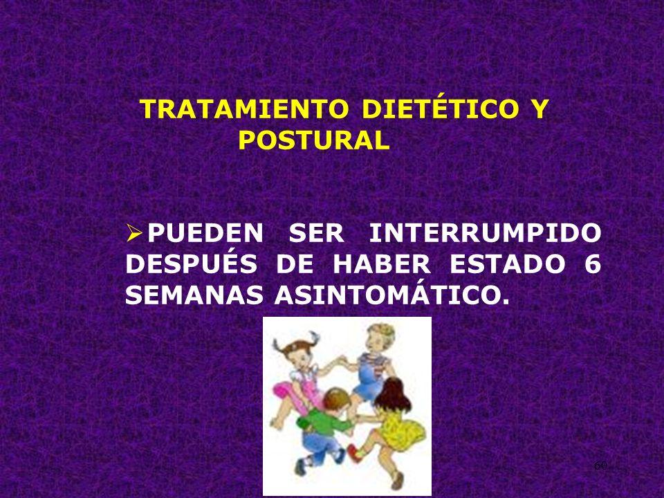 60 TRATAMIENTO DIETÉTICO Y POSTURAL PUEDEN SER INTERRUMPIDO DESPUÉS DE HABER ESTADO 6 SEMANAS ASINTOMÁTICO.