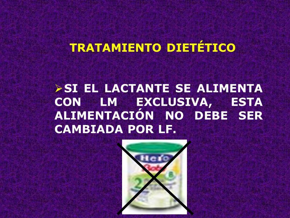 40 TRATAMIENTO DIETÉTICO EN LOS NIÑOS CON APLV DEBEMOS SUSPENDER LA LV Y SUS DERIVADOS Y CAMBIAR A UNA FÓRMULA LÁCTEA HIPOALERGÉNICA, O A BASE DE PROTEÍNA DE SOYA, O DE HIDROLIZADO PROTEICO.