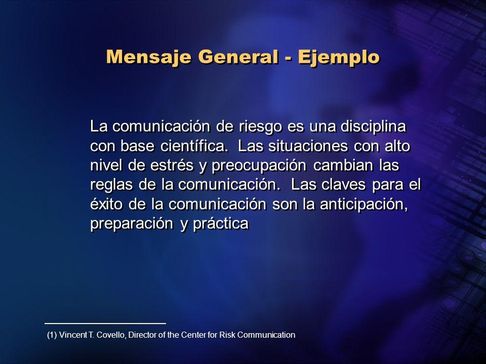 Mensaje General - Ejemplo La comunicación de riesgo es una disciplina con base científica. Las situaciones con alto nivel de estrés y preocupación cam