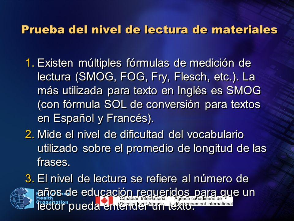 Pan American Health Organization Prueba del nivel de lectura de materiales 1.Existen múltiples fórmulas de medición de lectura (SMOG, FOG, Fry, Flesch