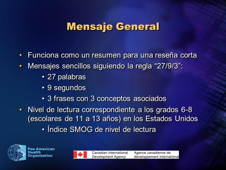 Pan American Health Organization Mensaje General Funciona como un resumen para una reseña corta Mensajes sencillos siguiendo la regla 27/9/3: 27 palab