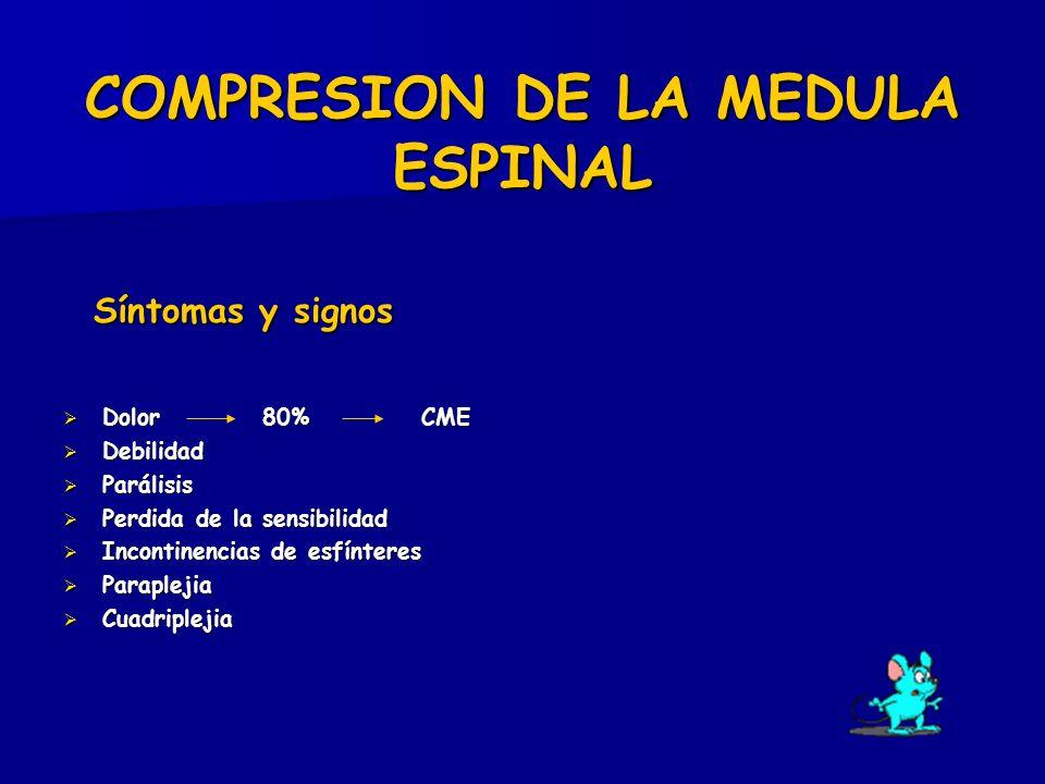 COMPRESION DE LA MEDULA ESPINAL Síntomas y signos Síntomas y signos Dolor 80% CME Dolor 80% CME Debilidad Debilidad Parálisis Parálisis Perdida de la