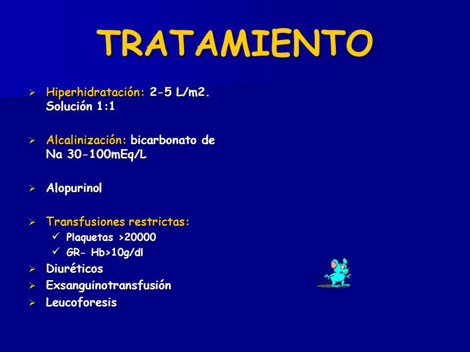 TRATAMIENTO Hiperhidratación: 2-5 L/m2. Solución 1:1 Hiperhidratación: 2-5 L/m2. Solución 1:1 Alcalinización: bicarbonato de Na 30-100mEq/L Alcaliniza
