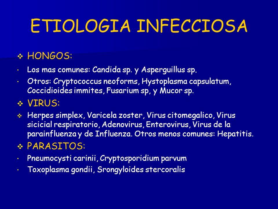 ETIOLOGIA INFECCIOSA HONGOS: Los mas comunes: Candida sp.