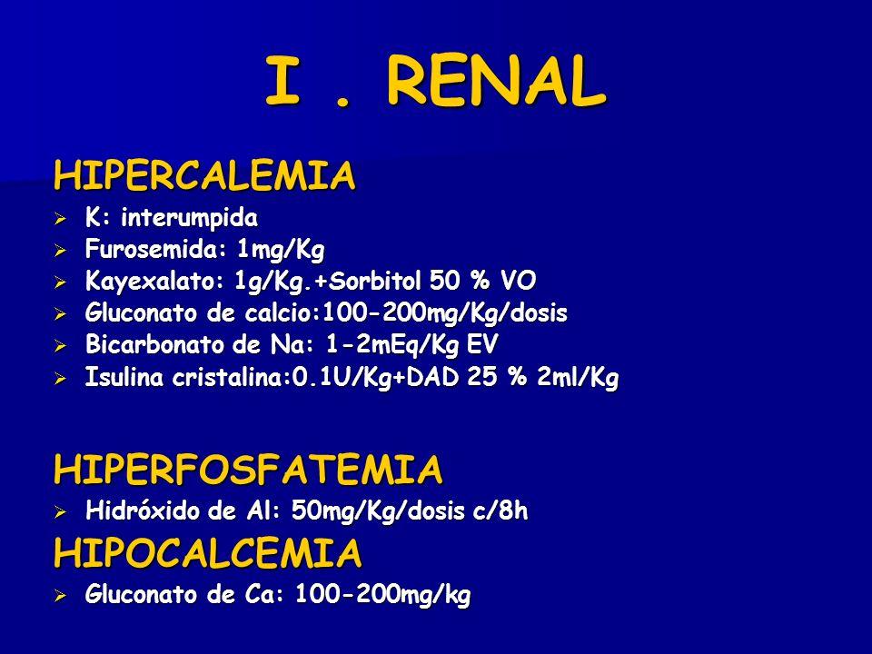 I. RENAL HIPERCALEMIA K: interumpida K: interumpida Furosemida: 1mg/Kg Furosemida: 1mg/Kg Kayexalato: 1g/Kg.+Sorbitol 50 % VO Kayexalato: 1g/Kg.+Sorbi