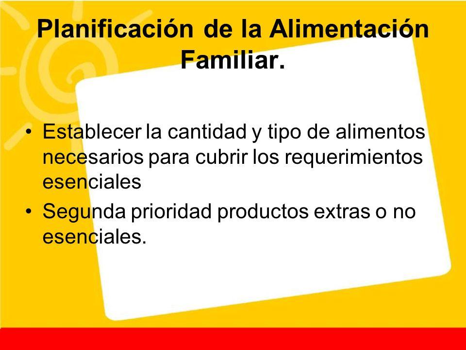 Planificación de la Alimentación Familiar. Establecer la cantidad y tipo de alimentos necesarios para cubrir los requerimientos esenciales Segunda pri