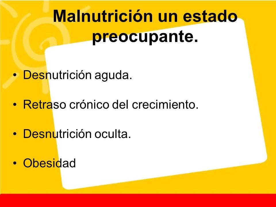 Malnutrición un estado preocupante. Desnutrición aguda. Retraso crónico del crecimiento. Desnutrición oculta. Obesidad