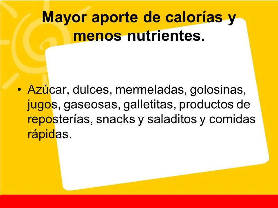 Mayor aporte de calorías y menos nutrientes. Azúcar, dulces, mermeladas, golosinas, jugos, gaseosas, galletitas, productos de reposterías, snacks y sa