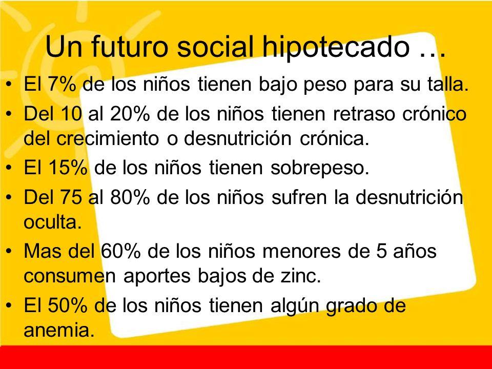 Un futuro social hipotecado … El 7% de los niños tienen bajo peso para su talla. Del 10 al 20% de los niños tienen retraso crónico del crecimiento o d