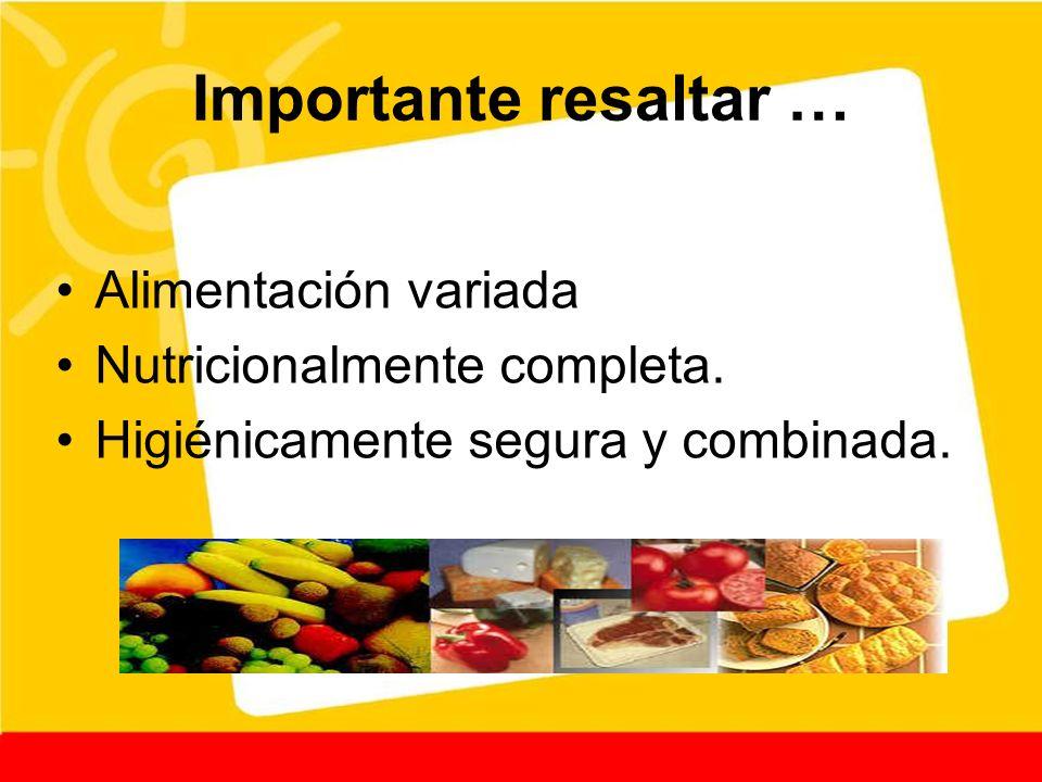 Importante resaltar … Alimentación variada Nutricionalmente completa. Higiénicamente segura y combinada.