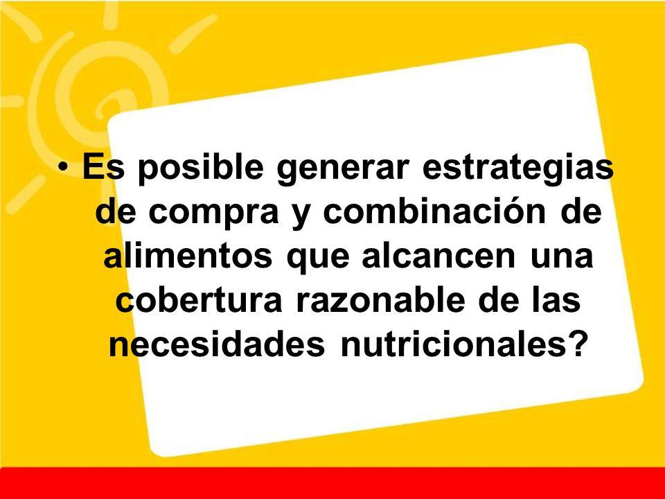 Es posible generar estrategias de compra y combinación de alimentos que alcancen una cobertura razonable de las necesidades nutricionales?