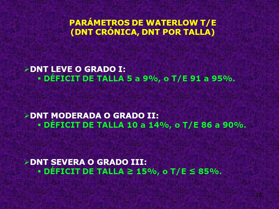 16 PARÁMETROS DE WATERLOW T/E (DNT CRÓNICA, DNT POR TALLA) DNT LEVE O GRADO I: DÉFICIT DE TALLA 5 a 9%, o T/E 91 a 95%. DNT MODERADA O GRADO II: DÉFIC