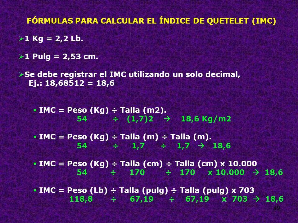 49 FÓRMULAS PARA CALCULAR EL ÍNDICE DE QUETELET (IMC) 1 Kg = 2,2 Lb. 1 Pulg = 2,53 cm. Se debe registrar el IMC utilizando un solo decimal, Ej.: 18,68