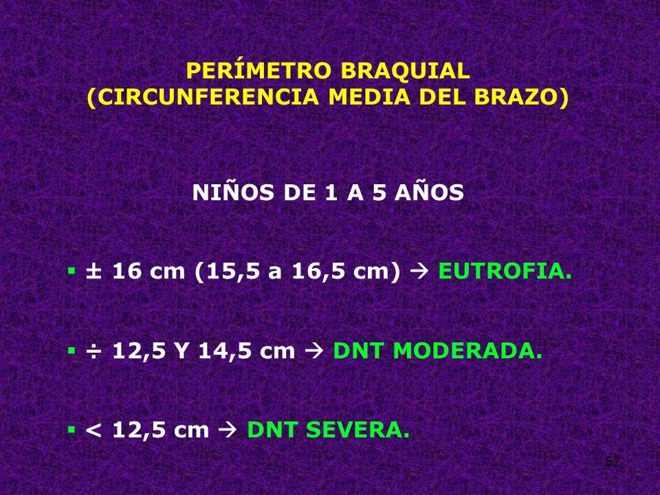 57 PERÍMETRO BRAQUIAL (CIRCUNFERENCIA MEDIA DEL BRAZO) NIÑOS DE 1 A 5 AÑOS ± 16 cm (15,5 a 16,5 cm) EUTROFIA. ÷ 12,5 Y 14,5 cm DNT MODERADA. < 12,5 cm