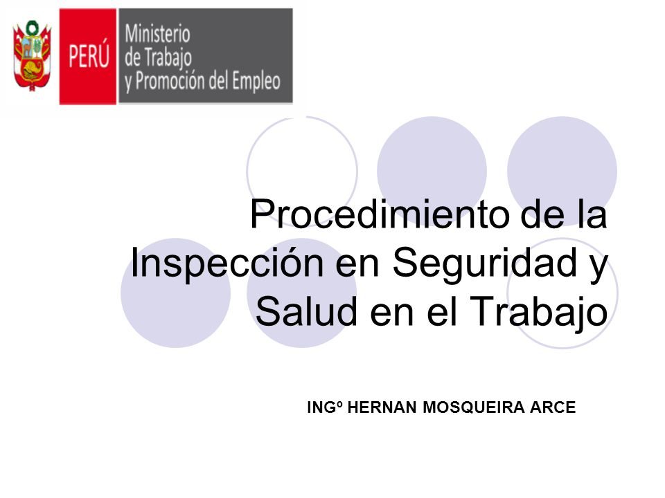 Procedimiento de la Inspección en Seguridad y Salud en el Trabajo INGº HERNAN MOSQUEIRA ARCE