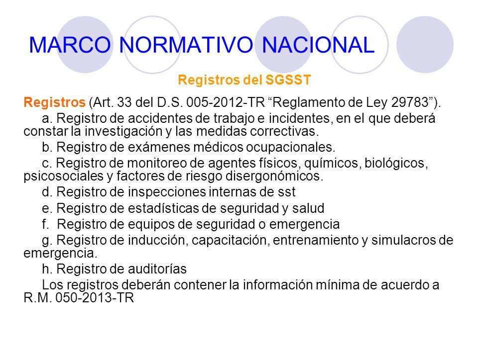 MARCO NORMATIVO NACIONAL Registros del SGSST Registros (Art. 33 del D.S. 005-2012-TR Reglamento de Ley 29783). a. Registro de accidentes de trabajo e